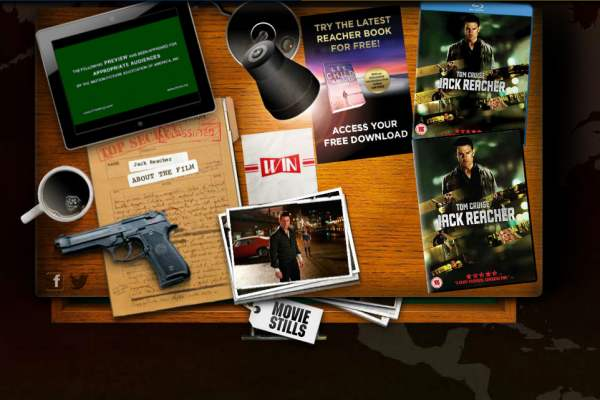 Jack Reacher Film Promotion - the landing page