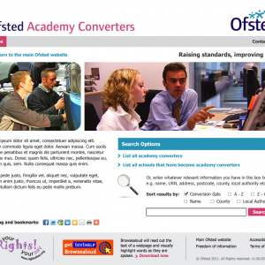 Ofsted Acadamy Converters homepage design