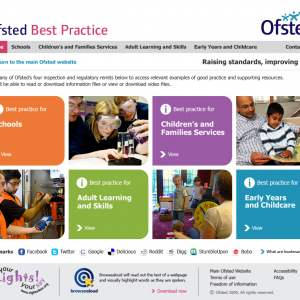 Ofsted Best Practice homepage design