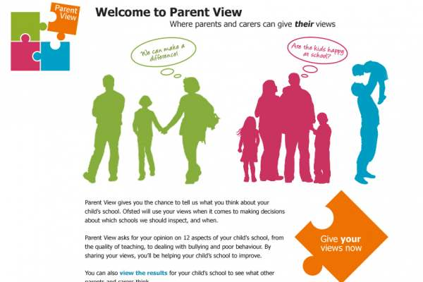 Ofsted Parent View homepage design